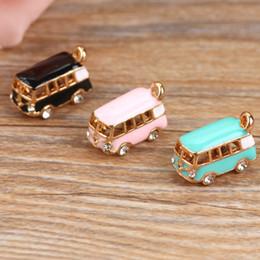 Wholesale Enamel Bus Charm - Wholesale- 5PCS Lucky Happyness Bus Enamel Pendant Charms Gold Tone Oil Drop DIY Bracelet Floating Charms