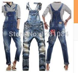 Wholesale Korean Pants For Mens - Wholesale-Men's Korean style slim Jumpsuits Hole suspenders jeans for men Mens denim bib pants Blue Denim Overalls Trouser For Man