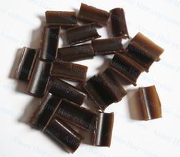 Wholesale keratin glue tip hair extensions - Wholesale- Free Shipping 100pcs Brown Keratin glue Nail Tip Keratin U-Shaped Fusion Chips Glue Nail keratin for prebonded hair extension