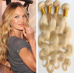Wholesale Double Drawn Virgin Indian Hair - Body Wave Hair Weaves Brazilian Malaysian Peruvian Indian European Virgin Human Hair Blond Color Hair Bundles Double Drawn Weft 3pcs Lot