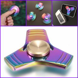 Wholesale Al Alloys - Zn Al Alloy Fidget Spinner Tri spinn Rainbow Colorful EDC Gyro Toys Hand Spinner Torqbar Brass Gyroscope