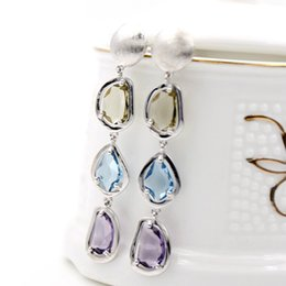Wholesale Color Crystal Teardrop Earrings - Color Crystal Stone Teardrop Tassel Long Stud Earrings For Women Europe America Hot Fashion Vintage Beautiful Great Quality Copper Jewelry