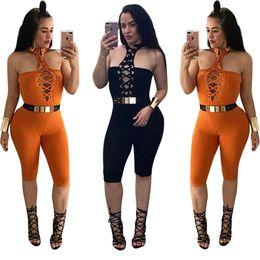 Wholesale Sexy Ladies Night Pants - 2017 Real Elegant Jumpsuit Yshn New Sexy Hanging Neck Pants Strapless Repair Slim Color Playsuits Women Short Ladies Night Club