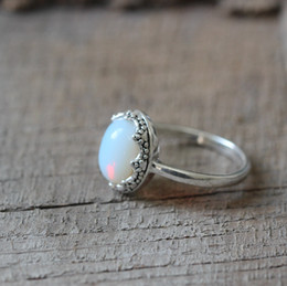 Wholesale Gold Birthstone Jewelry - elegant style oval opal ring June birthstone jewelry crown inspired charm