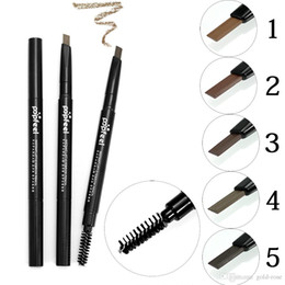 Wholesale Cheap Eyebrow Pencils - Popfeel Double-ended Professional Eye Brow Pen With Mascara Long Lasting Natural Pigments Gray Brown Eyebrow Tattoo Pencil Cheap Makeup