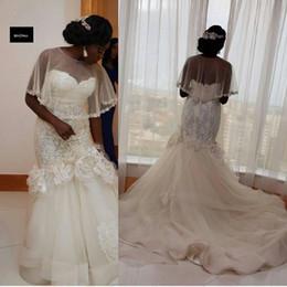 Wholesale Sexy Girl Flower Skirt - Vestidos De Novia 2016 Black Girl Nigeria Mermaid Lace Wedding Dresses With Wrap Applique Flowers Vintage Garden Beach Bridal Gowns