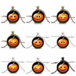 Wholesale Wholesale Zombie Pendants - Halloween Jewelry Zombie Pumpkin Lantern Smile Pattern Necklace Personality Cartoon Pendant Long Necklace Neck Wear TOP1970