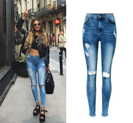 Wholesale jeans push - Wholesale- High Waist Hole Ripped Jeans Women Navy Blue Cotton Scratched Skinny Jeans Femme Push Up Bleached Fashion Vaqueros Mujer Spring
