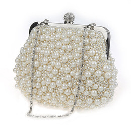 Wholesale Clutch Diamonds Pearls - Pearl beads hand bags cheongsam bales dinner evening bags 2017 Fashion brand desginer evening bags free shipping
