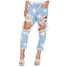 Wholesale Vintage Hot Pants - Wholesale- FS Hot Woman's Vintage Holes Ripped Jeans Denim Blue White Trousers Women Pencil Pants