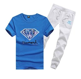Wholesale Diamond Supply Shirts Free Shipping - D610 Free shipping 2017 new men Leisure Diamond Supply T-Shirt and long pants suit o-neck Elastic waist