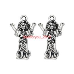 Wholesale Fairy Charm Bracelet - Tibetan Silver Plated Angel Gril Fairy Charms Pendants for Jewelry Making Bracelet Craft DIY Handmade 30x15mm