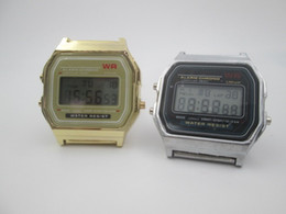 Wholesale Retro Gold Digital Watch - New A159W watches Mens Classic Stainless Steel Digital Retro Watch Vintage Gold and Silver Digital Alarm F-91w Sports Watches A159