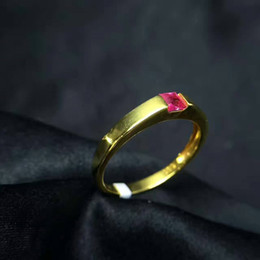 Wholesale Natural Ruby Gold Ring 18k - New Style 925 Sterling Siilver 18K Yellow Gold Plated With Natural Ruby Ring For Women's Wedding Party Fashion Jewelry
