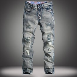 Wholesale Mens Pants Size 38 - Wholesale-Europe ripped jeans homme straight slim fit solid mens biker jeans Retro light blue high quality cotton denim pants plus size 38