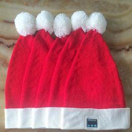 Wholesale Headset Decorations - Wireless Bluetooth Christmas Beanies Sport Music Hat Smart Headset Cap Warm Winter Santa Claus Hat For All Smart Phones CCA8055 10pcs
