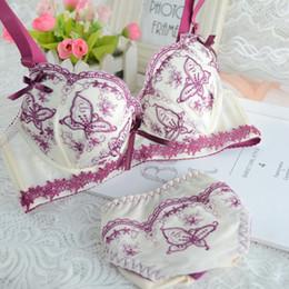 Wholesale lingerie bow bras - Sexy Women Crochet Flora Lace Bra Set Push Up Underwear Bra and Panty Set Bow Conjunto Lingerie Sutia Renda