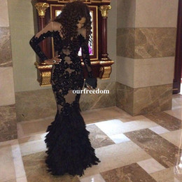 Wholesale Champange Lace Dress - Luxury Black Feather Prom Dresses With Long Sleeves Sheer Champange Arabic Evening Gowns Real Tulle Mermaid Formal Dresses Gowns Plus Size