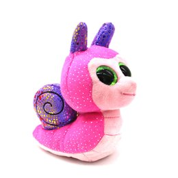 "Wholesale Ty Boos Plush - Ty Beanie Boos Big Eyes 6"" Plush Snail with Sparkling Sequins Animal Toys"