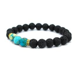 Wholesale Turquoise Bead Buddha Bracelet - Natural Stone Bead Buddha Bracelets for Women Men Silver Turquoise Black Lava Bracelet Femme Jewelry With Stones