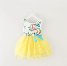 Wholesale Children Korean Dresses - Girls summer 2017 new Korean girls floral gauze dress princess dress children dress