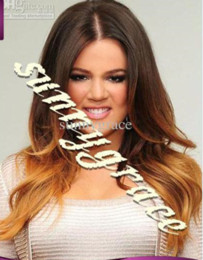 Wholesale Beautiful European Hair Wigs - Beautiful two tone European natural wavy hair full lace wig ombre blonde wigs middle part sunnygrace