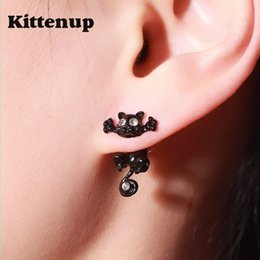 Wholesale Earrings Ear Piercing For Women - Kittenup New Fashion Cat earring cute Black Kitten Jewelry Piercing Ear Stud Earrings for Women Femme