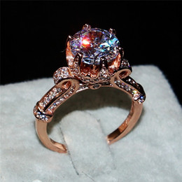 Wholesale Crown Design Jewelry Rings - Luxury 100% silod 925 Silver&rose gold ring Jewelry Flower Crown Design Diamond Level Gemstone Ring Engagement Wedding Rings for women gift