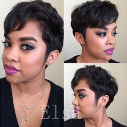 Wholesale Hot Hair Cuts - Short Human Natural Brazilian Hair Glueless Wig For Black Women Celebrity Human Real Hair Short Cut Wigs Hot Sale