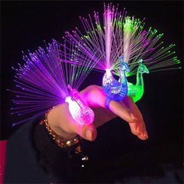 Wholesale Fiber Rings - Creative Peacock LED Finger Ring Lights Beams Party Nightclub Color Rings Optical Fiber Lamp Kids Children Gifts Party Supplies