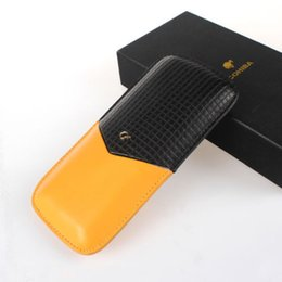 Wholesale Black Cigar Humidor - COHIBA New Style Black&Yellow Color Leather 3 Tube Cigar For Smoking Travel Holder Case Humidor Gift Box