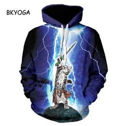 Wholesale Drop Shipping Cat Shirts - Thunder cat Sweatshirt cat lightning thunder 3d hoodie Women Men Sweatshirts harajuku hooded shirts Drop Ship