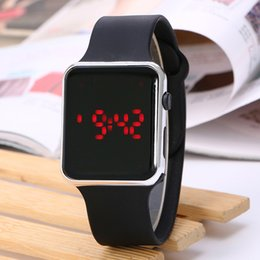 Wholesale Digital Wrist Watches Womens - New Men Womens Sports Watches LED Screen Digital Silicone Strap Watch Wrist watch Gifts Kid boys Men's Watch