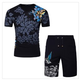 Wholesale V Neck Running Shirts - Tracksuit for Men Short Sleeves Chinese Style T Shirt+shorts Sports Summer Breathable Cotton Track Suits US Size:S-2XL