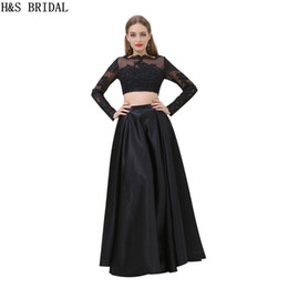 Wholesale Long Sleeved Satin Prom Dresses - Black Lace Long Sleeved Evening Dresses Two Pieces Sheer Neck Party Prom Dresses B016