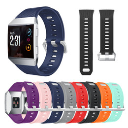 Wholesale Metal Wristbands - For Fitbit Ionic Smart Watch Bands Accessories Fitbit Ionic Straps Silicone Sport Strap With Stainless Steel Metal ClasP VS FITBIT charge 2