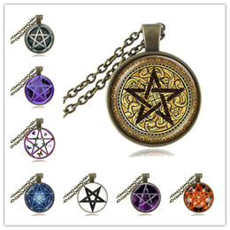 Wholesale Ace Jewelry - Golden Pentagram Necklace Cabochon Pentacle Pendant Ace of Pentacles Tarot Card Jewelry Wiccan Accessories Occult Jewellery