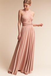 Wholesale Cheap One Shoulder Dress Nude - Hot-Sale! 2017 New Popular Spandex V-neck Neckline Convertible A-line Floor Length Cheap simple Evening Dresses #LL20025