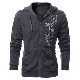 Wholesale Male Slim Chinese - Wholesale-NEW 2016 Men Autumn Slim Fit Hooded Fleece Hoodies Chinese Dragon Tattoo Printed Jacket Male Casual Cardigan Zipper Sweatshirt