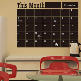 Wholesale Wholesale Calendar Stickers - This Month Chalkboard Wall Sticker Removable Blackboard Decals 58*42cm Plan Calendar Chalkboard Memo Wall Stickers OOA2803