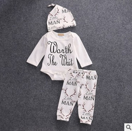 Wholesale Cute Winter Outfits For Girls - Baby Outfits Letter Printed Long Sleeve Romper +Deer Long Pants +Hats Spring Cartoon Boys Girls Clothing Sets 3pcs Suits for Toddler 7480