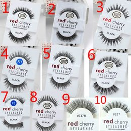 Wholesale wholesale feather wings - Factory direct export red cherry handmade Natural false eyelashes Beauty Sale Makeup Long Fake Eye Lashes