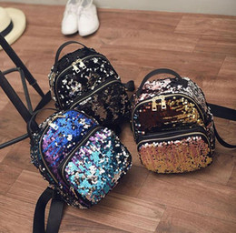 Wholesale School Bag Princesses - New Arrival Women All-match Bag PU Leather Sequins Backpack Girls Small Travel Princess Bling Backpacks school bags ZD215