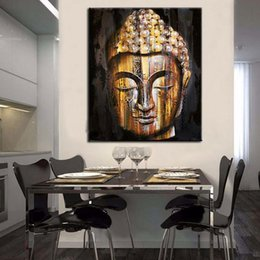 Wholesale Asian Wall Panels - unframed Tear of Buddha painting Religion wall canvas art Bodhisattva indian God asian Buddhism canvas picture for wall decoration