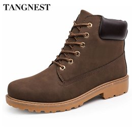 Wholesale Summer British Style Tops - Wholesale- Tangnest Men Martin Boots 2016 Autumn New Ankle Boots British Style High Top Shoes Man Camouflage Flats Plus Size 39-46 XWX4234