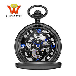 Wholesale Mechanical Vintage Pocket Watches - Orologio Uomo OYW Brand Mechanical Hand Wind Pocket Watch Men Retro Vintage Pendant Skeleton Design Watch With Full Steel Chain