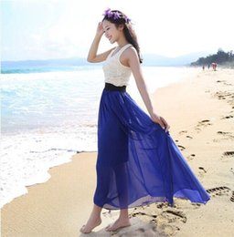 Wholesale Maxi Elastic Waist Chiffon Skirt - 20 Colors new fashion women summer clothing bohemian Elastic Waist Chiffon Long Maxi Skirt Girl's Pleated Ruched skirt W00233