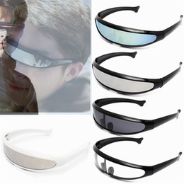 Wholesale Laser Glass Lens - NEW Cool men's sunglasses fashion X-men Individuality Laser Outer Space Robot Conjoined Mercury Lens Sun Glasses For Outdoor Sports   T