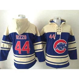 Wholesale Cheap Fleece Sweaters - Chicago Cubs #44 Anthony Rizzo Lace Up Pullover Hooded Sweatshirt Cheap Baseball Hoodies Blue Men's Sweater Best Quality Baseball Jerseys