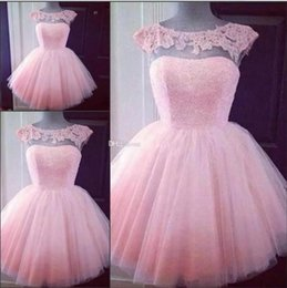 Wholesale Cute Little Girl Dressed Sexy - 2017 Puffy Tulle Little Cute Short Pink Cocktail Dresses Prom Dresses Pretty Party Dresses Cheap Appliques Capped Sleeves Girl Formal Gowns